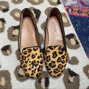 J Crew Factory Cora Leopard Calf Hair Loafers 6